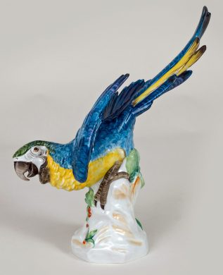 Continental Porcelain Blue Plumed Parrot