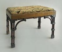 Chinese Chippendale, Gothic Revival Cluster Column Leg Stool