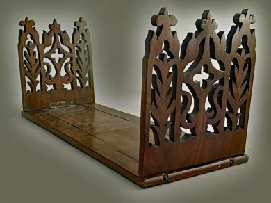 Gothic Revival Expanding Book Stand or Bookslide