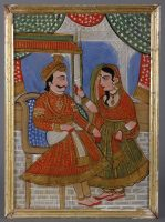 Indian Framed Reverse Glass Painting of Maharajah