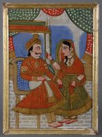 Indian Framed Glass Painting of Maharajah