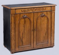 Irish Walnut Campaign Side Cabinet Labeled Ross & Co, Dublin-Main View Angled