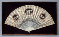Antique Folding Carved Ivory Hand-Painted Silk Fan