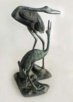 Japanese Bronze Sculpture, Pair of Cranes