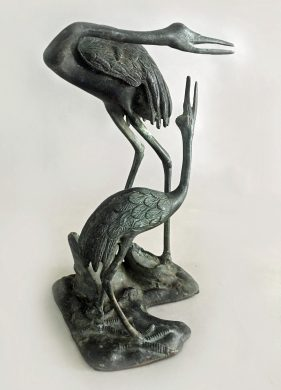 Japanese Bronze Sculpture, Pair of Cranes