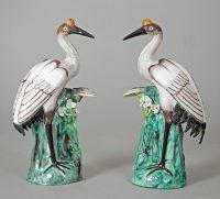 Japanese Porcelain Red Crown Cranes, A Pair