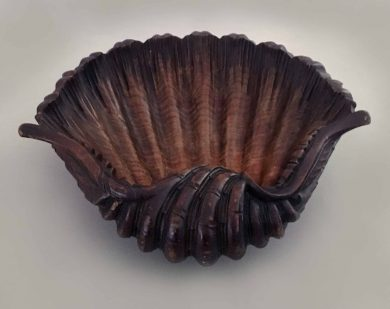 Large Carved Teak Shell-Shaped Bowl