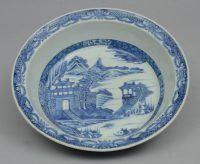 Large Chinese Export Blue and White Canton Bowl