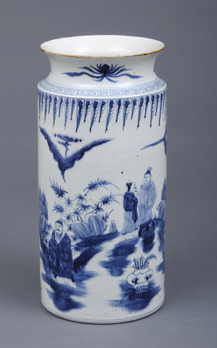 Large Chinese Export Cylindrical Open Vase