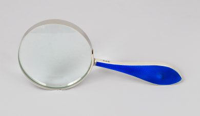 Magnifying Glass with Sterling and Cobalt Enamel Handle