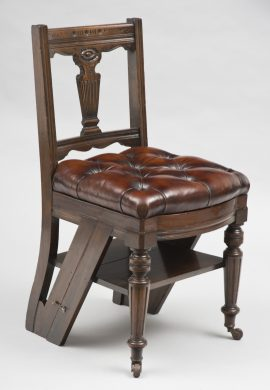 Mahogany Metamorphic Chair and Library Steps with Removable Leather Seat