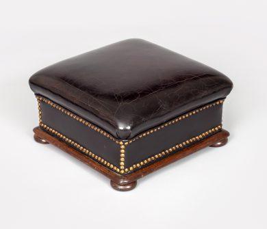 Mahogany and Black Leather Footstool