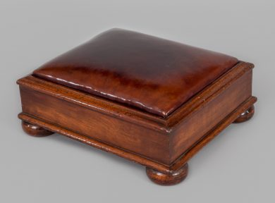 Mahogany Brown Leather Footstool