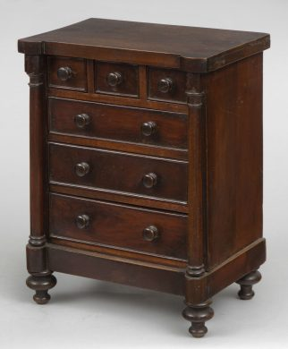 Miniature Mahogany Chest of Drawers, Circa 1830