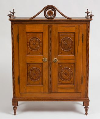 Antique Very Fine French Miniature Carved Fruitwood Armoire or Cupboard, 18th C