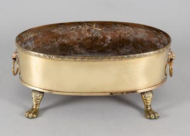 Oval Brass Jardiniere