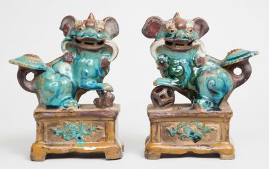 Pair Chinese Green Glazed Foo Dogs