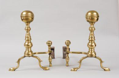 Pair of American Brass Boston Andirons, Circa 1800