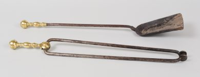 Pair of American Brass and Iron Fire Tools, Circa 1800