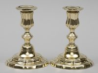 Pair 18th Century French Louis XV Brass Candlesticks-Main View