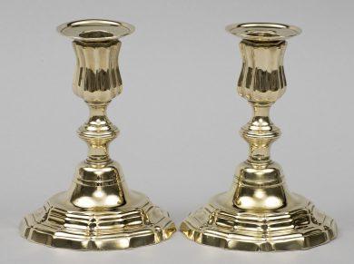 Pair 18th Century French Louis XV Brass Candlesticks