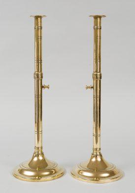 Pair of Antique Brass Pulpit Candlesticks