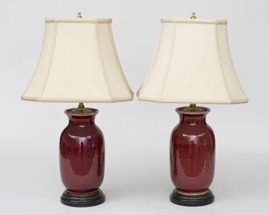 Pair Chinese Sang de Boeuf Lamps