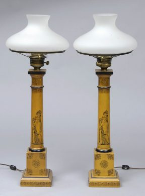 Pair English Antique Tall Tole Lamps