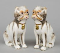 Pair Continental Porcelain Pug Dogs