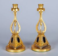 Pair of Antique English Gilded Bronze Candlesticks-Main Front View