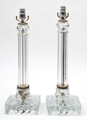 Pair Baccarat Style Glass Lamps
