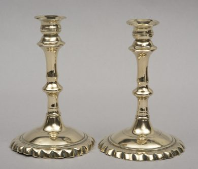 Pair French Brass Candlesticks, Circa 1750
