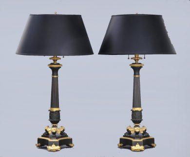 Pair Antique French Bronze & Ormolu Lamps