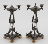 Pair Antique French Bronze Pastille Burner Candelabra