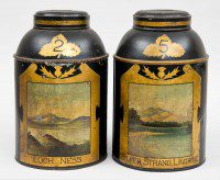 Pair Scottish Tole Tea Canisters, Circa 1850-Main Front View