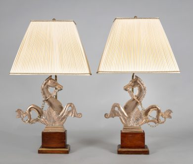 Pair Venetian Brass Gondola Seahorse Lamps