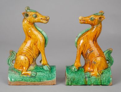 Pair Chinese Qing Guangxu Horse Roof Tiles