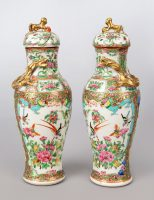 Pair Chinese Canton Famille Rose Lidded Vases