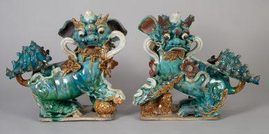 Pair Chinese Ceramic Buddhistic Lions