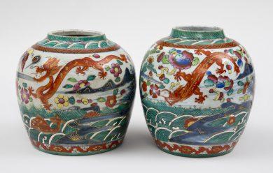 Pair of Chinese Clobbered Squat Jars, Circa 1800