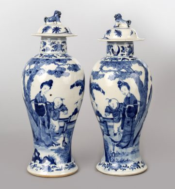 Chinese Pair Blue and White Baluster Lidded Vases