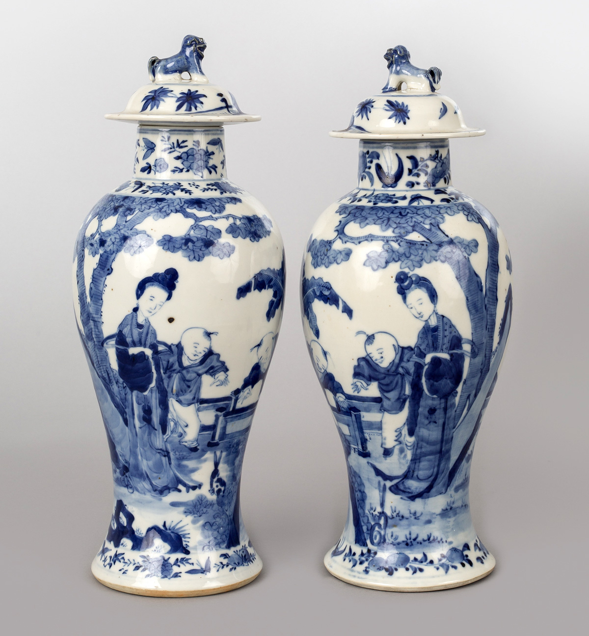 Antique Pair Chinese Blue And White Baluster Lidded Vases