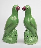 Pair Chinese Green Parrots, Circa 1820
