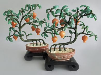 Pair Vintage Chinese Hardstone Bonsai Pomegranate Trees