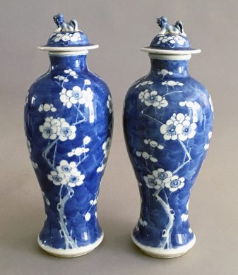 Pair Chinese Blue & White Prunus Pattern Vases