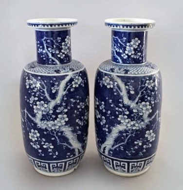 Chinese Pair Blue and White Porcelain Rouleau Vases