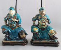 Pair Chinese Shiwan Ware Pottery Warrior Lamps-Main Front View