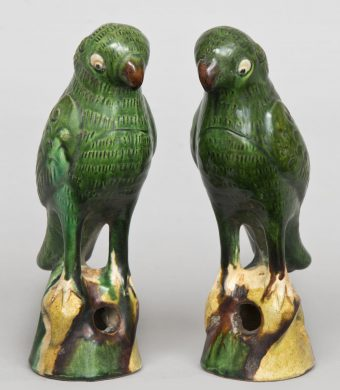 Pair Chinese Standing Green Parrots, Circa 1860