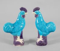 Chinese Porcelain Turquoise and Purple Roosters, A Pair