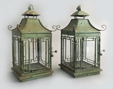 Pair Vintage Chinoiserie Green Lanterns